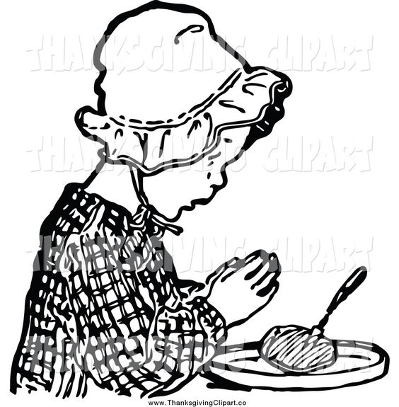 Cooking Clip Art Black and White | vector-clip-art-of-a-vintage-black-and-white-girl-praying-before-food ...