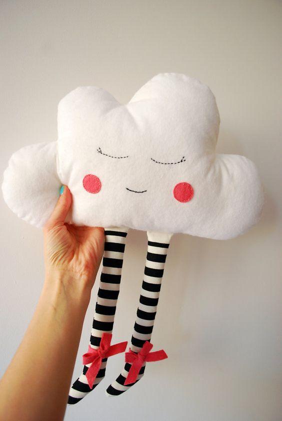 Nube muñeca juguete almohadilla de la felpa bordado a mano cara niños sueño vivero Decor