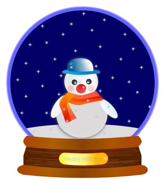 Clip Art Snowman Snow Globe