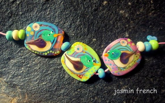 jasmin french ' duckies ' lampwork focal beads set by jasminfrench