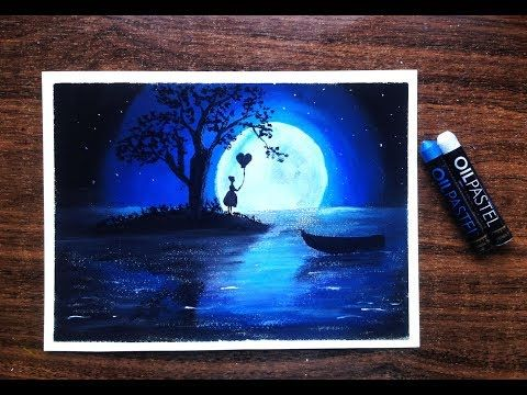 How To Draw Beautiful Moonlight Scenery With Oil Pastel For Beginners Youtube Oil Pastel Drawings Oil Pastel Paintings Oil Pastel Art