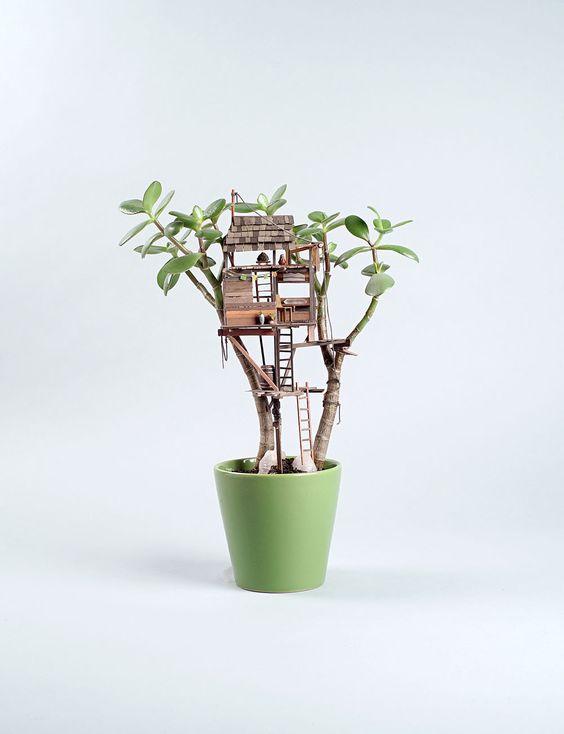 L'artiste Jedediah Corwyn Voltz travaille depuis 10 ans comme accessoiriste pour le cinéma et se sert de cette expérience pour fabriquer cette série de sculptures de cabanes en bois miniatures qui sont accrochées à des plantes d'intérieur en guise d'arbres.