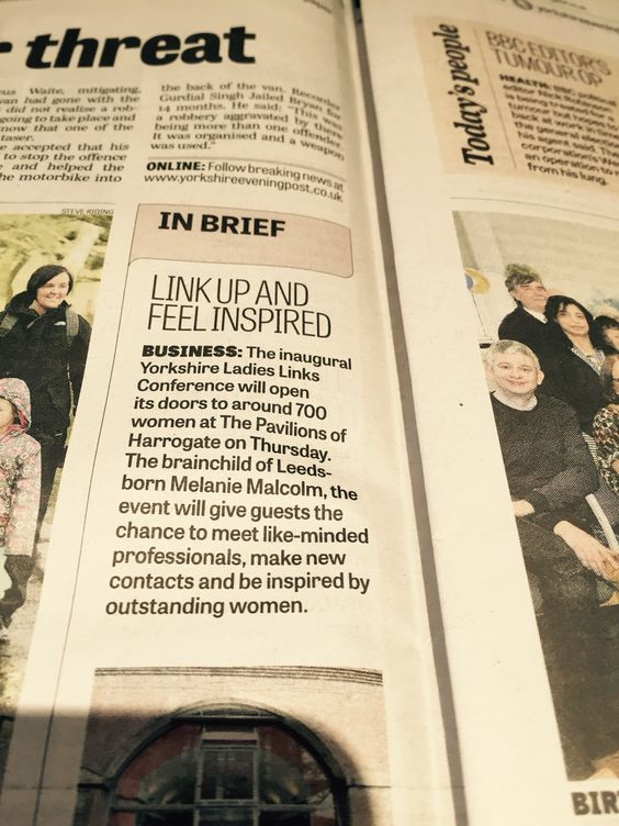 News feature in the Yorkshire Evening Post on the 2015 Harrogate #BeInspired Conference