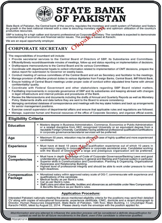 Corporate Secretary Jobs in State Bank Of Pakistan Jobs In - dredge operator sample resume