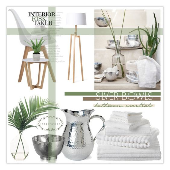 """""""Slate & Silver - Bathroom"""" by nonniekiss ❤ liked on Polyvore featuring interior, interiors, interior design, home, home decor, interior decorating, H&M, Rove Concepts, NDI and Michael Aram"""