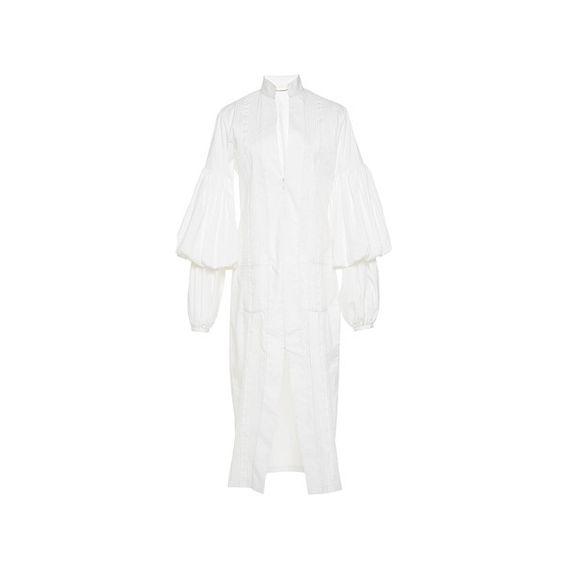 Johanna Ortiz     Palomino Puff Sleeve Shirtdress (38 525 UAH) ❤ liked on Polyvore featuring dresses, puff sleeve dress, sheath dress, long white shirt dress, v neck dress and white v neck dress