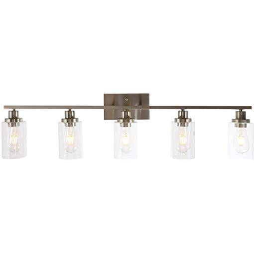 Bathroom Vanity Light Brushed Nickel Fixture Sconce Modern Wall Glass Metal New