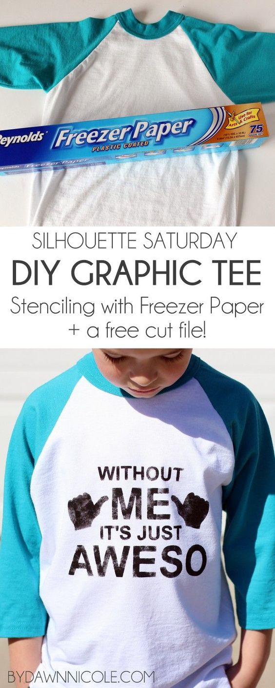 Silhouette Saturday: DIY Freezer Paper Graphic Tee + Free Cut File! | bydawnnicole.com
