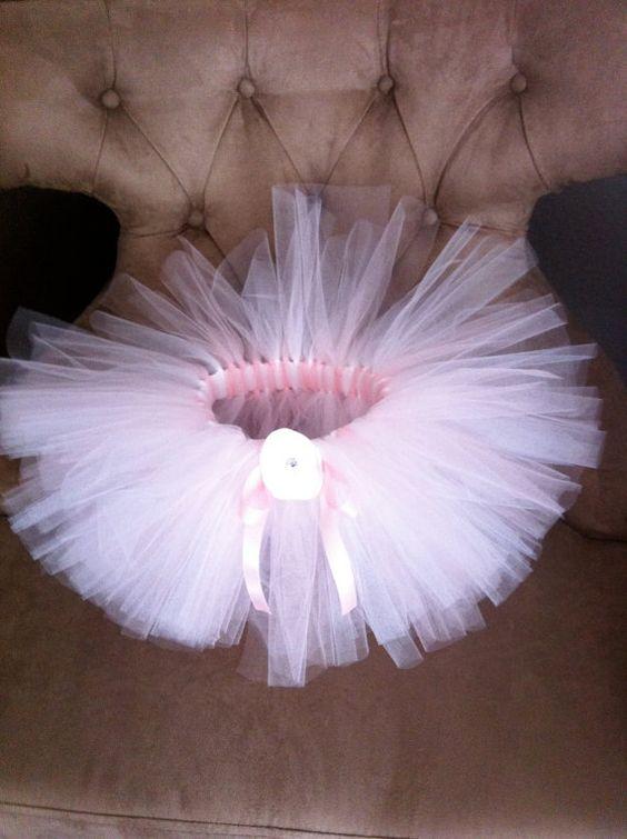 White and light pink Ballerina Tutu Newborn by alouettebowtique