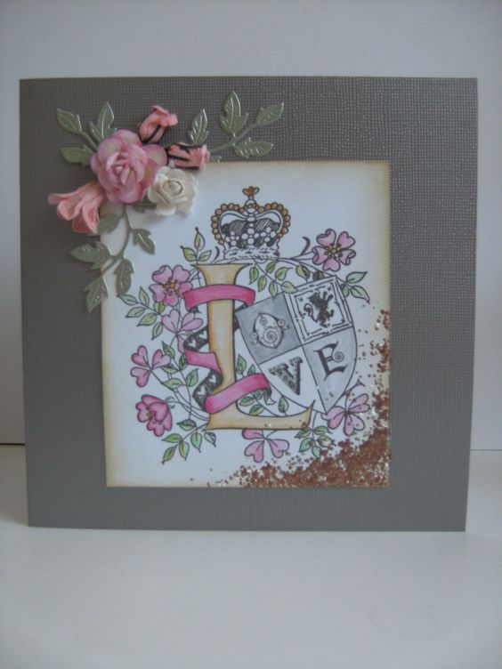 "Stampendous cling rubber stamp was used on this card ""Love Crest"""