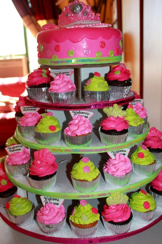 Sprinkle Splash: Princess cake and cupcake tower.    We service the Greater New York Area call us today 800-764-6106 or info@SprinkleSplash.com