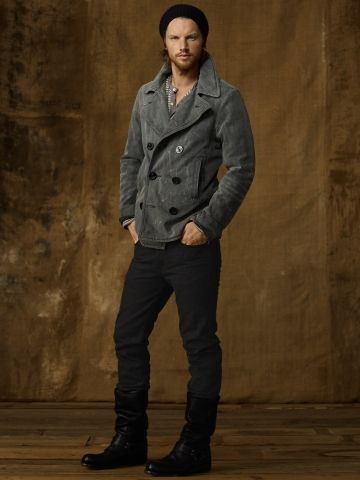Ralph Lauren Denim & Supply Faded Black Denim Pea Coat: $198.00