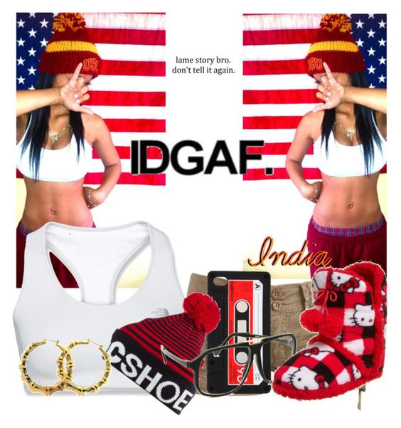"""""""IDGAF Gang.!"""" by prodigyselmo123 ❤ liked on Polyvore featuring Wet Seal, The North Face, DC Shoes, Hello Kitty and Fergie"""