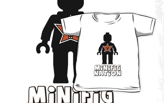 """""""""""MINIFIG NATION"""" Minifig [Black] with Customize My Minifig Star Logo"""" Kids Clothes by ChilleeW 