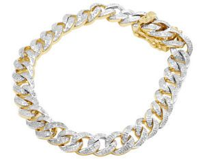 Ouro Amarelo 10k Masculino Iced Out Cubano De Miami Link Diamond Chain Pulseira 8 5 Blue Sapphire Bracelet Diamond Chain Jewelry