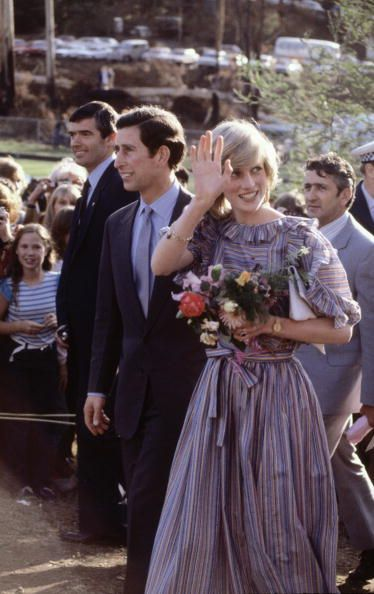 Diana Princess of Wales and Prince Charles visit victims of bushfires on March 25 1983 in Cockatoo near Melbourne Australia during the Royal Tour of...