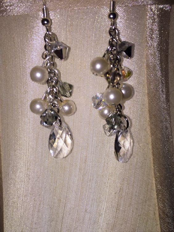 For the bride - 6mm crystal and grey Swarovski bicones and 6mm Swarovski pearls.