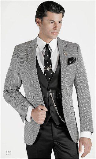 ONGala 855 , Trajes de novio modernos con Chaqueta en seda gris plata