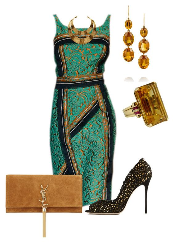 Sin título #967 by marisol-menahem on Polyvore featuring мода, Sergio Rossi, Yves Saint Laurent, Fred Leighton and Prada