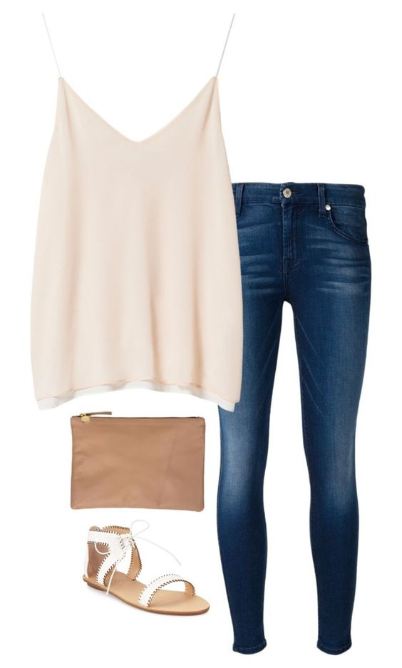 """""""ootd"""" by helenhudson1 ❤ liked on Polyvore featuring 7 For All Mankind, Zara, Clare V. and Loeffler Randall"""