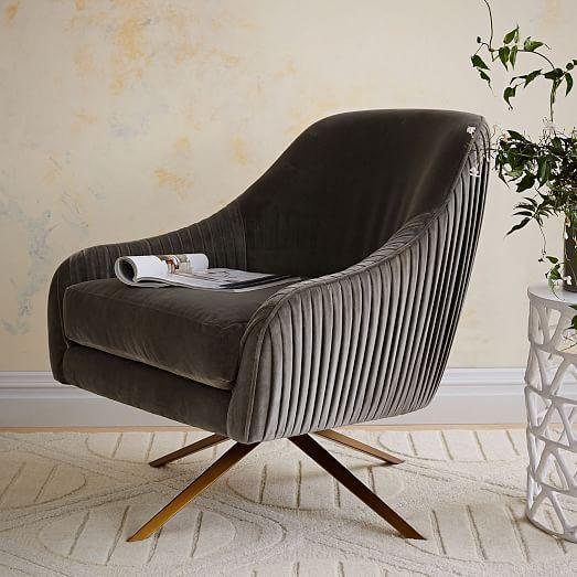 Pleated velvet swivel chair with brass angled legs   Roar + Rabbit Swivel Chair   west elm