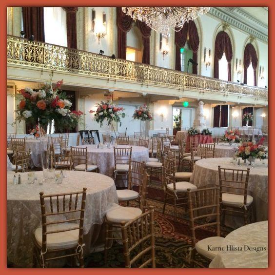 The Omni William Penn Ballroom designs in Corals , whites , and Blush .  Karriehlistadesigns