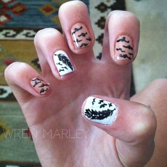 Feather and bird nails! So easy and fun!