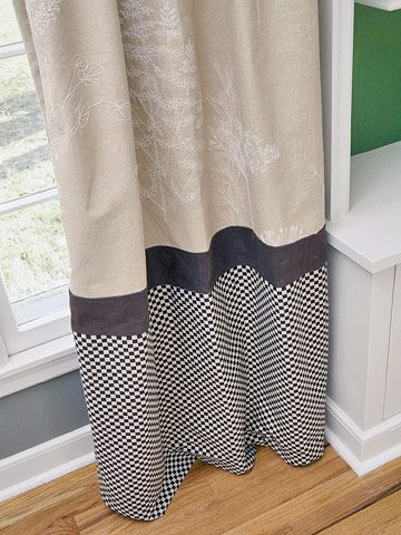 Curtain Detail: Adding fabric bands, such as this check and solid, to curtains (especially inexpensive store-bought solid panels) is a sure way to boost style. Sew the fabric band to existing curtains, or use fusible webbing for a quick fix.: