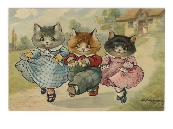 The Three Little Kittens Who Lost Their Mittens Dance Together Down A Country Lane Giclee Print With Images Cats Illustration Kitten Drawing Kittens Vintage