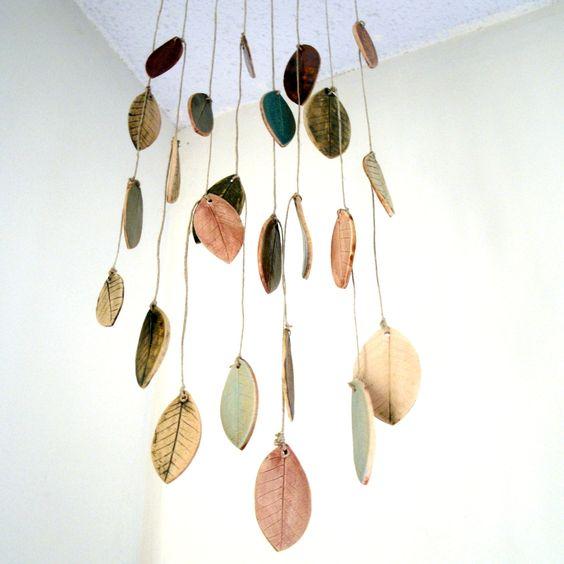 Stoneware Ceramic Leaf Chimes Mobile via StudioByTheForest on Etsy.