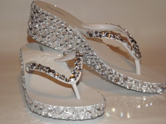 Rhinestone Bling Flip Flop Wedge Sandals Bridal by EVRhinestones, $55.00