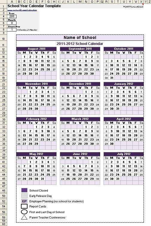 New School Year Printable Calendar