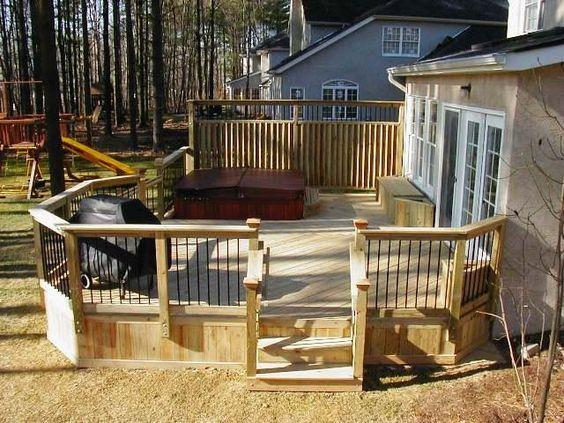 Hot tub privacy fence ideas deck with hot tub and custom for Custom deck ideas