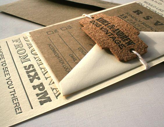 Custom Vintage Fonts Long Letterpress Wedding Invitation With ...