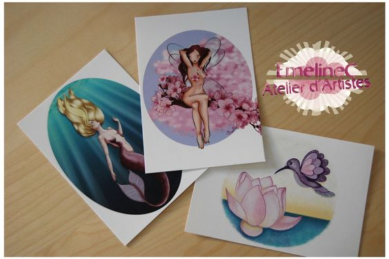 Lot de 3 cartes postales - EmelineC via Atelier d'Artistes. Click on the image to see more!