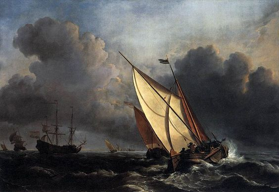 """""""Ships on a Stormy Sea"""" by Willem van de Velde the Younger (c. 1672)"""
