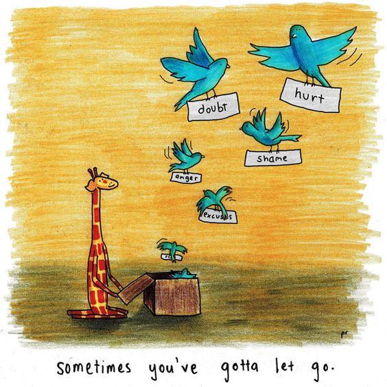 Motivating Giraffe - Let go - 8x11 A4 Print