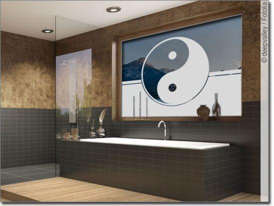 Sichtschutzfolie Yin Yang Sichtschutzfolie Fensterfolie Runde Badezimmerspiegel