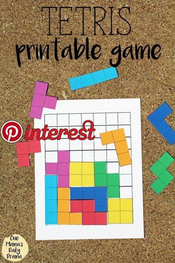 Tetris Druckbares Spiel Mit Brett Und Stucken Spiele Fur Kinder Aktivitaten Fur Vorschulkinder Spiele Selber Basteln