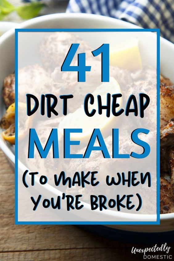 Do you need to eat on a budget this week? Check out these easy, dirt cheap meals! They're all under $5, and can be made for one or two, or even large families. Making your grocery lists and menu planning on a budget is very simple with these easy dinners. Saving money and eating healthy is possible! Tons of ideas here - chicken, ground beef, chicken, casseroles, pasta recipes, and more. Perfect for frugal living families with kids! #cheapmeals #easydinner #menuplanning #mealplan