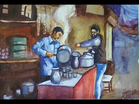 Tea Stall Watercolor Composition Drawing Bfa Entrance Exam