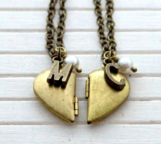 Half Heart Lockets .. best friends, mother, daughter, sister, jewellery, vintage inspired, brass, friendship, locket, initial, necklace: