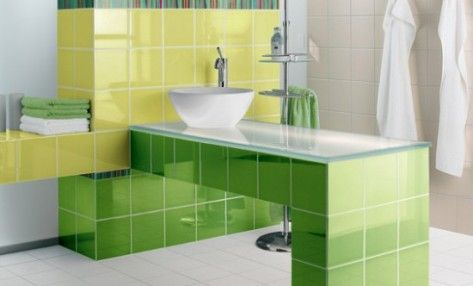 Green and yellow tiles deco ideas pinterest tile for Yellow and green bathroom ideas
