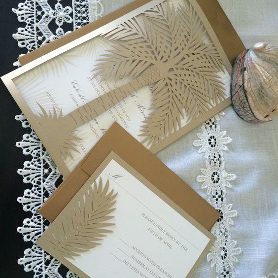 Custom Laser Cut Wedding Invitation, Palm Tree Tropical ...