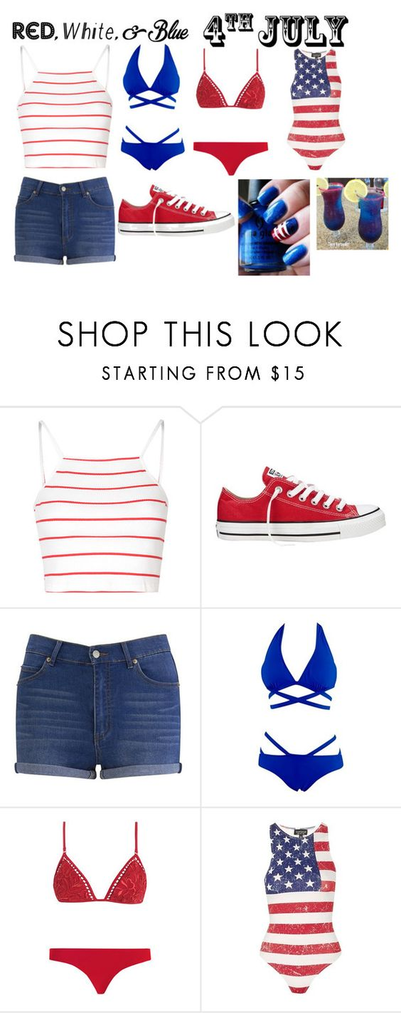 """4th of July"" by ariyonab103 ❤ liked on Polyvore featuring Glamorous, Converse, Cheap Monday, Zimmermann, Topshop, redwhiteandblue and july4th"