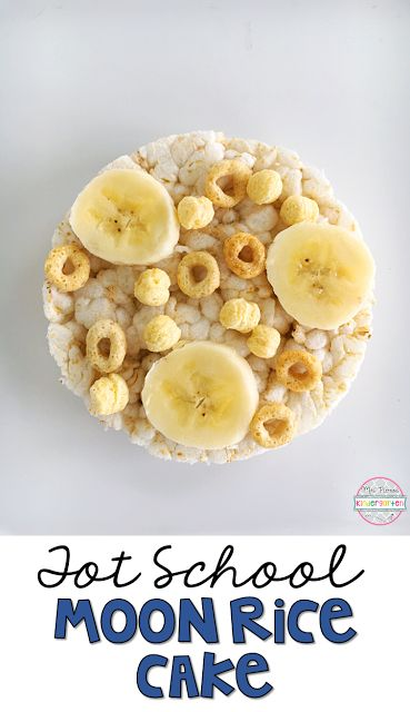 This Moon Rice Cake snack is easy peasy and perfect for tot school, preschool, or the kindergarten classroom.