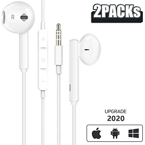 2 Pack Earphones Pour Iphone Updated Version 3 5mm Ecouteurs Avec Micro Et Microphone Controle Du Volume Stereo Isolation Earbuds In Ear Headphones Headphones