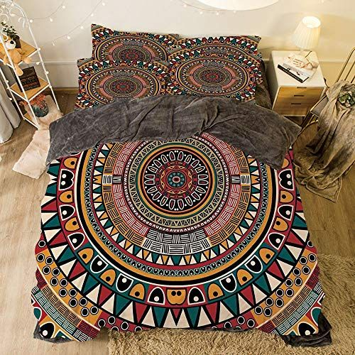 Flannel Duvet Cover Set 4 Pieces Bedlinen Winter Holiday Pattern For Bed Width 6 6ft Pattern By Tribal Decor Tribal Decor Flannel Duvet Cover Duvet Cover Sets