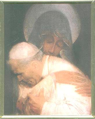 Mother Mary holding Pope John Paul II- this is the most beautiful painting I have ever seen.: