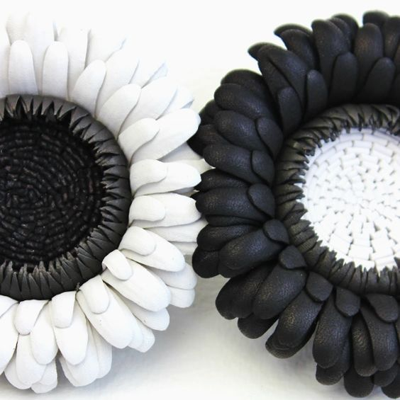 Black and white leather gerbera brooches Mollie Makes Handmade Awards 2016